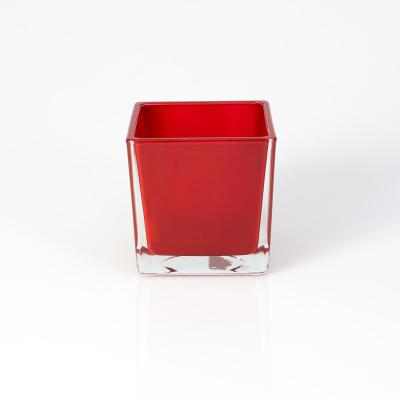 Vase bougeoir carre rouge loacation valais